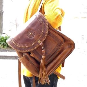 Signed Patricia Nash Distressed Leather Backpack